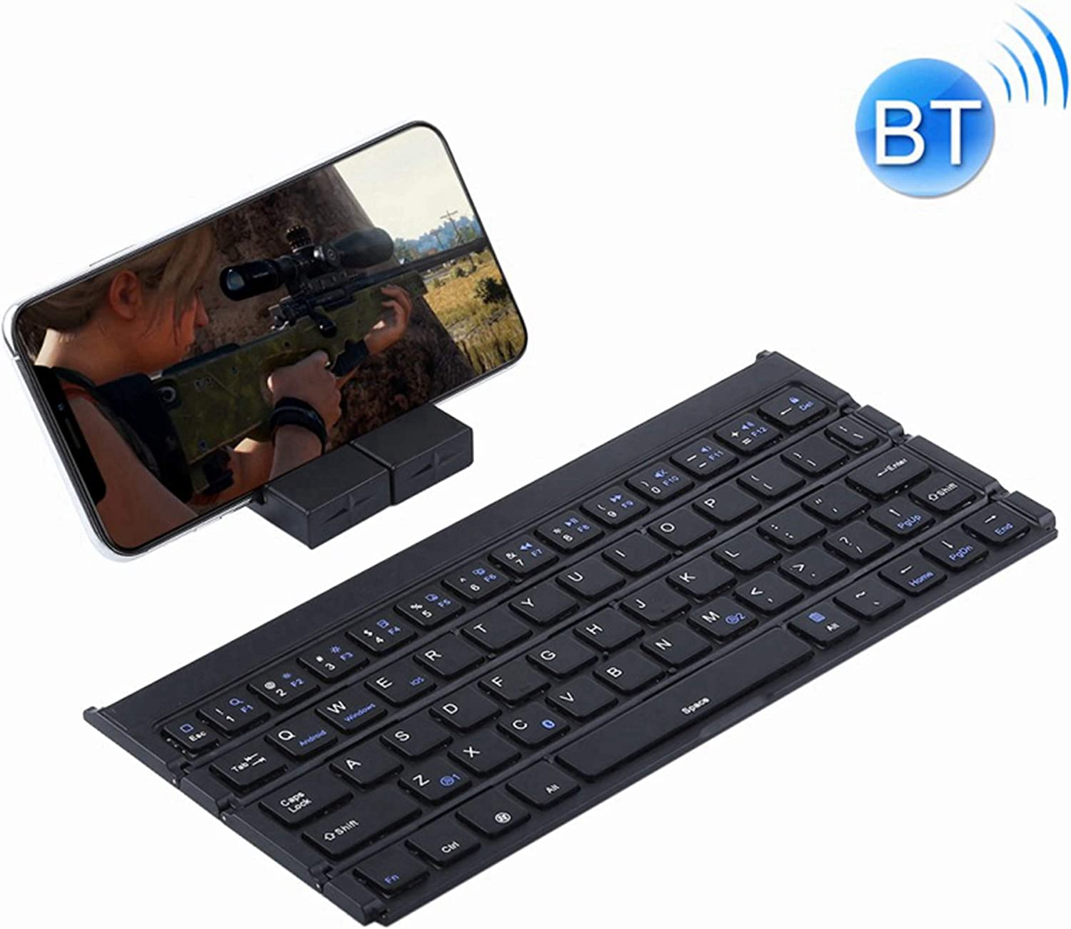 Built-in Holder Black POPUPE GK808 Ultra-Thin Foldable Bluetooth V3.0 Keyboard Support Android//iOS//Windows System