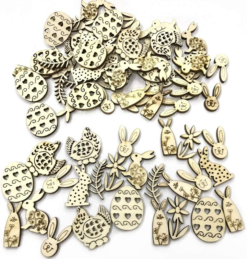 PRETYZOOM 150pcs Easter Wooden Crafts Egg Bunny Rabbit Wood Pieces Easter Hanging Pendant Ornaments DIY Crafts Unfinished Slices Easter Party Supplies