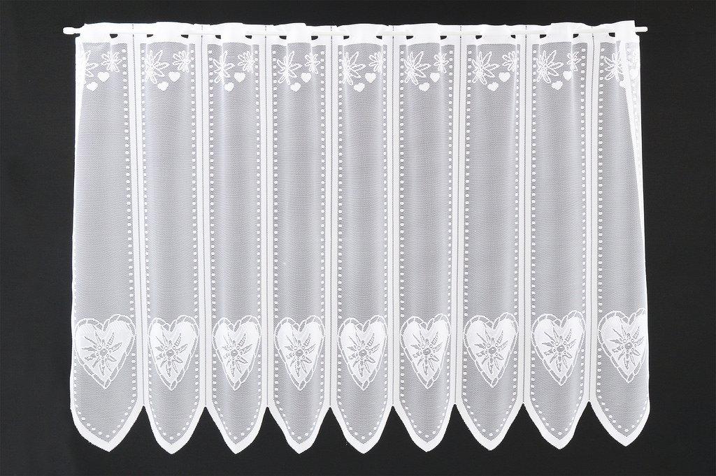 Tenda della finestra Edelweiss a cuore altezza 45 cm | Può scegliere la larghezza in segmenti da 18 cm, come vuole | Colore: Bianco | Tendine cucina