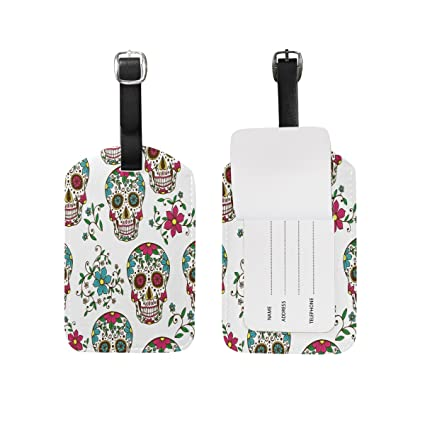 b4d476231077 Amazon.com | Use4 Floral Day of the Dead Luggage Tags Travel ID Bag ...