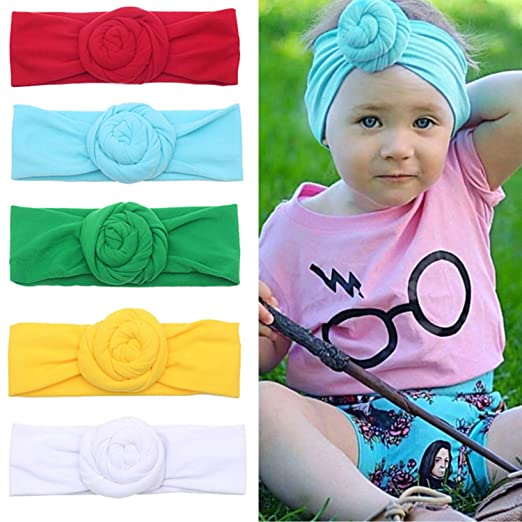 Amazon.com  5-6 Packs Baby Girl Cute Headband - Turban Head Wrap Knotted Hair  Band for Newborn 5c42ee9651fb