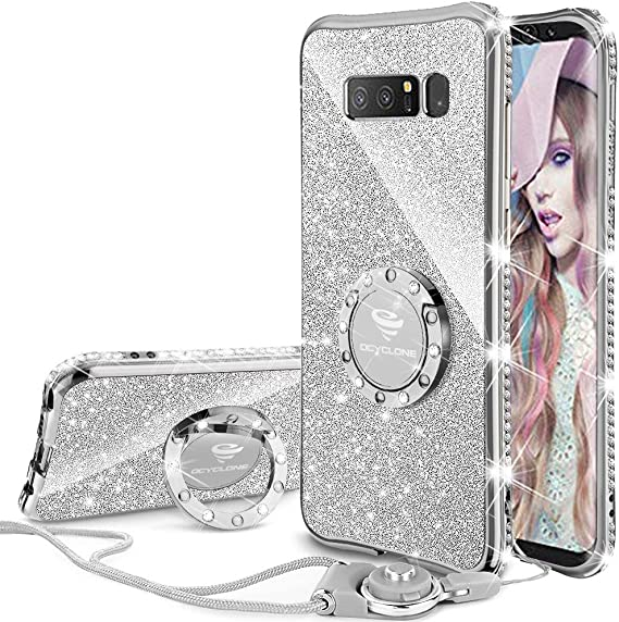 Galaxy Note 8 Case, Glitter Luxury Cute Phone Case Girls with Kickstand, Bling Diamond Rhinestone Bumper Ring Stand Sparkly Luxury Thin Protective