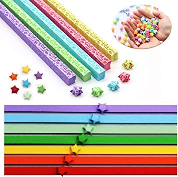 1080 PCS Origami Star Paper Strips Folding Paper Star Paper Decoration Paper Strips Origami Stars Papers Package DIY Paper Single Sided for DIY Arts Crafts