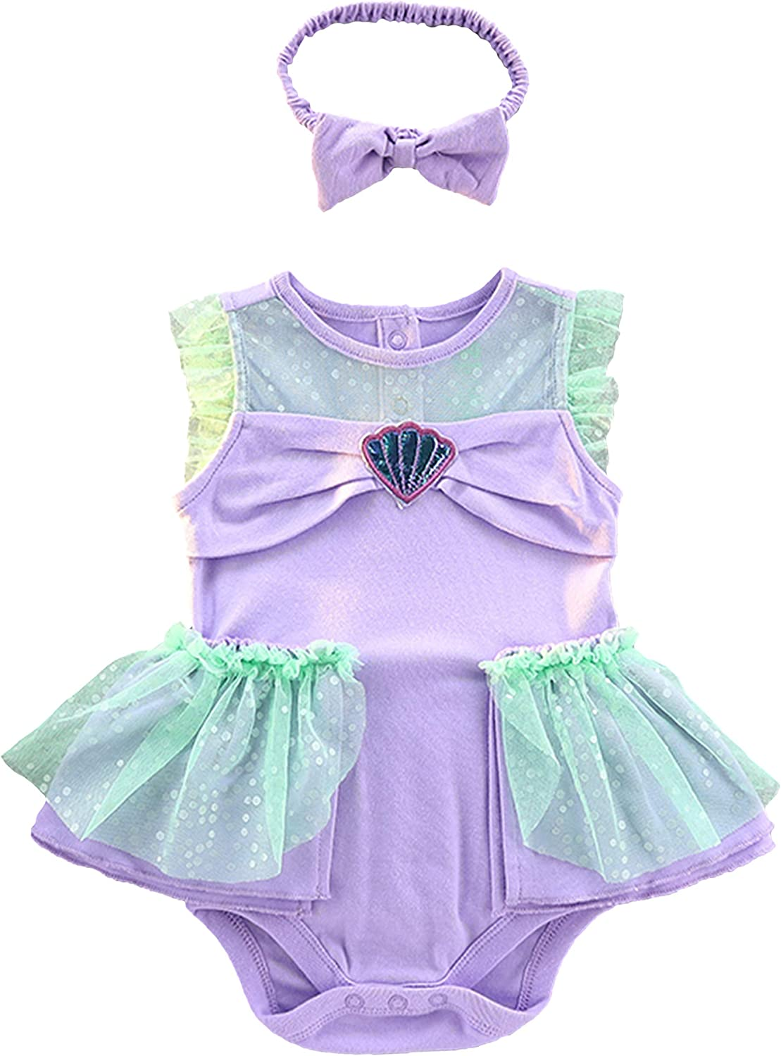 stylesilove.com Baby Girls Snow Princess Romper Dress with Headband 2pcs Halloween Costume Outfit