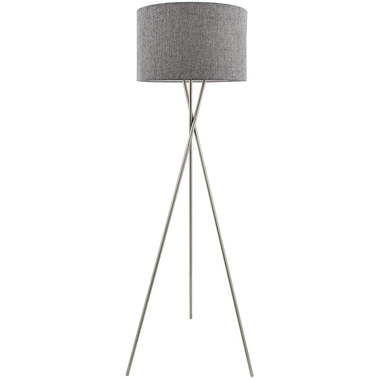 "Kira Home Sadie 60"" Mid Century Modern Tripod LED Floor Lamp + 9W Bulb (Energy Efficient/Eco-Friendly), Gray Drum Shade, Brushed Nickel Finish"
