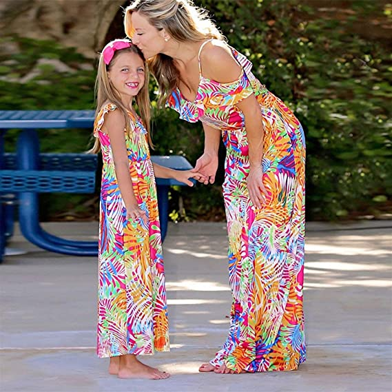 Amazon.com: Mother and Baby Girl Dress Floral Print Family Dress Round Neck Boho Maxi Beach Dresses Toponly: Kitchen & Dining