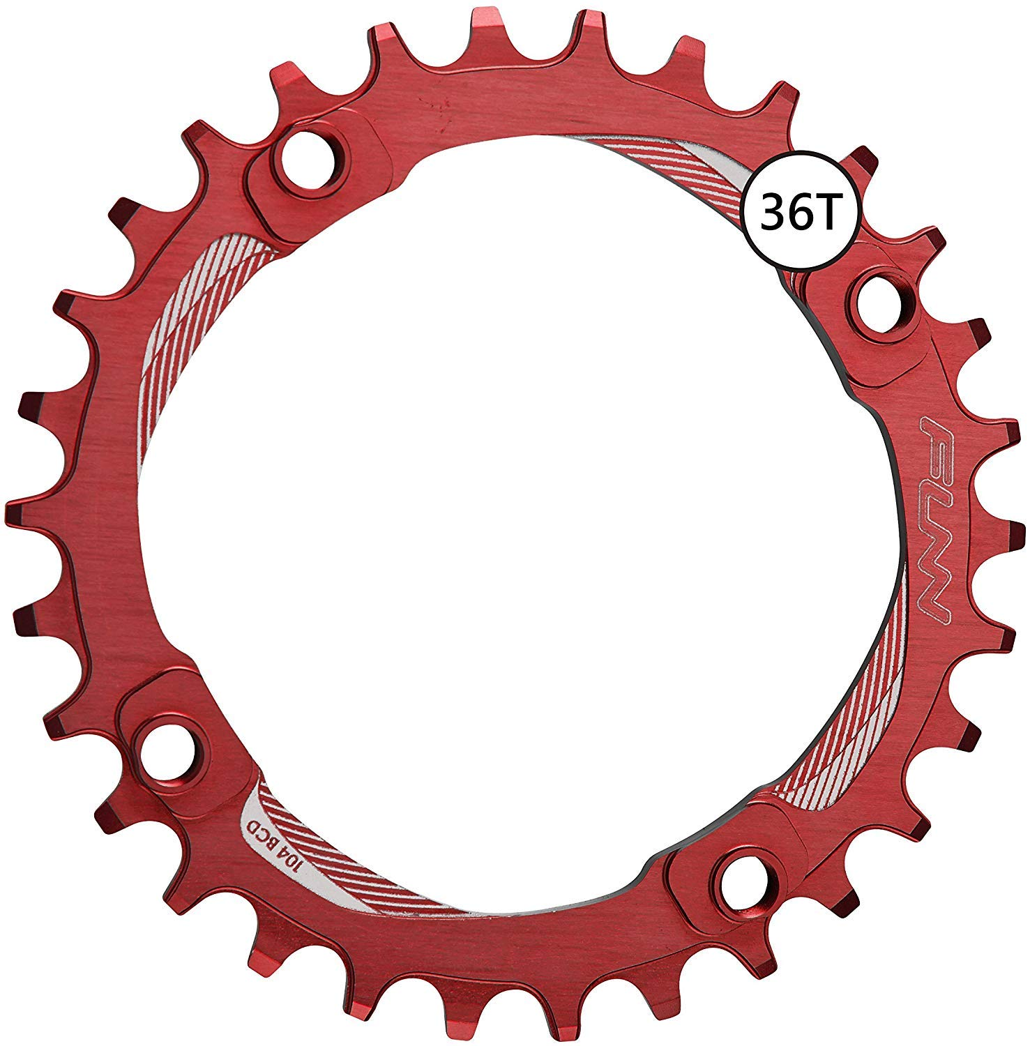 Funn Solo Narrow Wide Chain Ring BCD 104mm (36T Red)