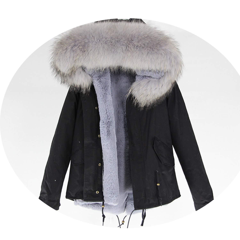 24 EnjoySexy Parka Winter Jacket Coat Women Natural Raccoon Fur Collar Hooded Warm Soft Faux Fur Liner