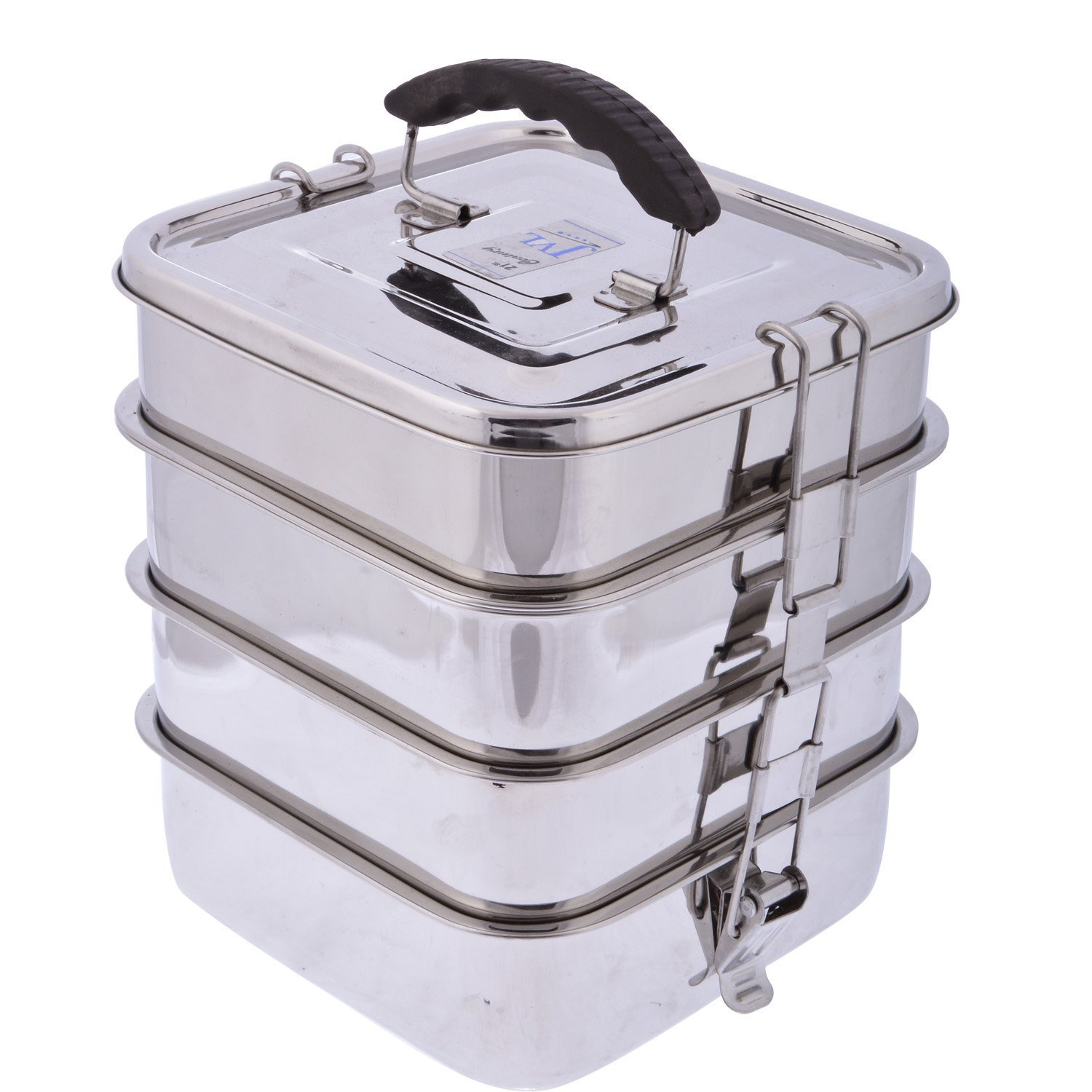 Heavy duty stainless steel 4 tier square bento lunch box bag meal tiffin set travel 4 plates - small containers inside and spoons by Zmatoo