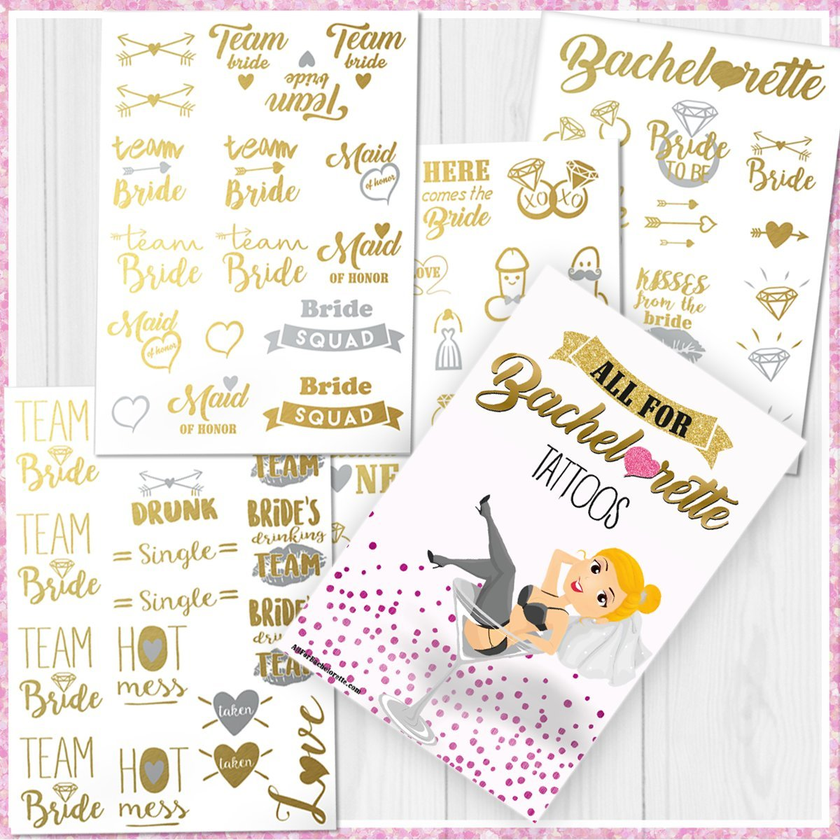 Bachelorette Party Tattoos - Gold & Silver Metallic Flash Temporary Tattoos, Mixed Set of 66 Bachelorette/Hen Party Favors by AllForBachelorette (Image #3)