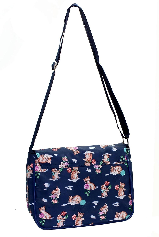 New Girls Womens Small Shoulder Bag Lovely Cat Print Fashion School Uni  Travel Messenger Satchel Flight Bag (Navy Cats Print)  Amazon.co.uk  Shoes    Bags 21fd615a408e5