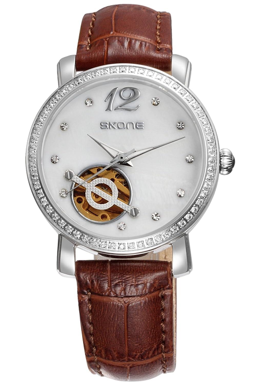 Skone Damen Mechanische Uhren Silber Weiß Strass Schmuck Skelett Dial Design Leder Armband Analog Uhr