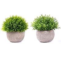 YQing Pianta artificiale in vaso 1/2/6pz pianta in vaso di fiori finti verde erba per home office