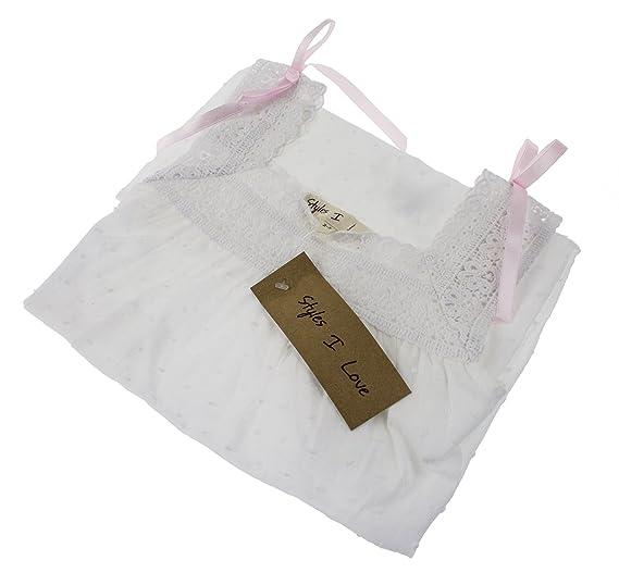 e24c4d5a043 Amazon.com  StylesILove Handmade Girls  Embroidered Lace Cotton Night Dress  White - Age 2-12 (Pink Ribbon Sleeveless