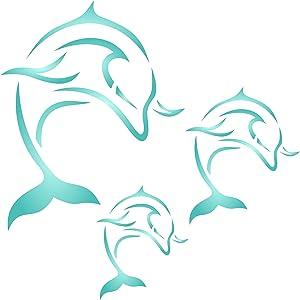 Dolphin Mural Stencil, 14 x 14 inch (L) - Sea Fish Mammal Mural Wall Art Stencils for Painting Template