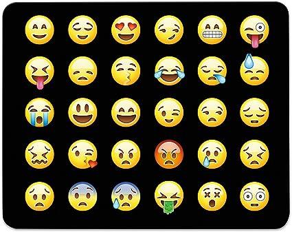 ADDIES Mousepad Emoji/Emoticons. Bonito para ratón diseño en Fina celofán de regalo del paquete con caucho bajo material, Negro, 240 mm x 190 mm, ...