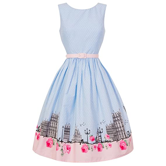 Hell Bunny Paname Paris Eiffel Tower Baby Blue 1950s Retro Vintage Flared Dress 12 M