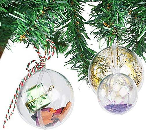 Uten 20 x Bolas de Navidad Forma Redonda Plástico Transparente para Decorar el arbol de Navidad no Incluye Cuerda (5CM): Amazon.es: Hogar
