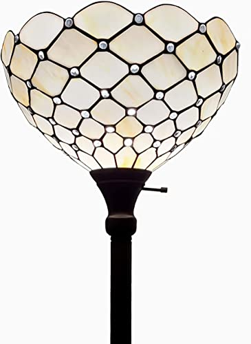 Amora Lighting Tiffany Style Floor Lamp Jeweled Torchiere 72 Tall Glass White Yellow Stains Antique Vintage Light Decor Bedroom Living Room Reading Gift AM1119FL14B