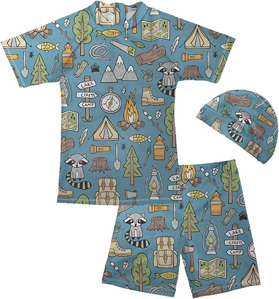 NDISTIN Cute Cartoon Boys Swimsuit Two Pieces Rash Guard Swimwear with Swimming Cap Set Bathing Suit