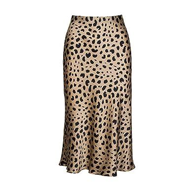 e3d312f96338f9 High Waist Leopard Midi Skirt Female Satin Skirts Slip Style Animal Print  Skirt Women,Leopard