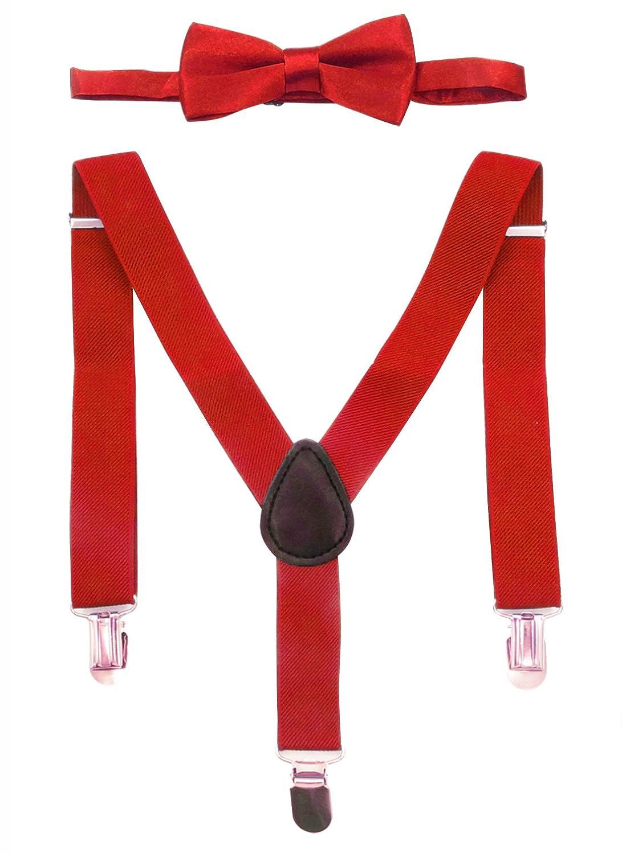 Aieoe Children Solid Adjustable Elastic Wedding Daily Wear Suspender Bowtie Set 3 Clips Elastic Braces Black