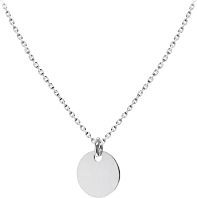 """Elegant Minimalist 18"""" Sterling Silver Curb Chain Necklace Round Disc Charm"""
