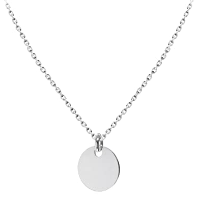 Tuscany Silver Sterling Silver Plain Disc Pendant on Chain Necklace of 46cm/18 3ktXz6VYnd