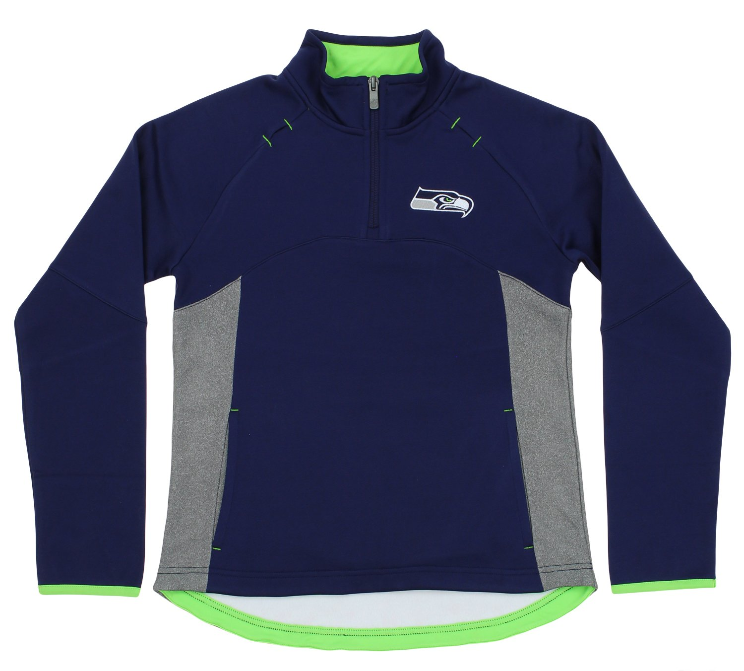 Outerstuff Seattle Seahawks NFL Big Girls Youth Extreme Long Sleeve 1/4 Zip Top, Navy-Grey by Outerstuff