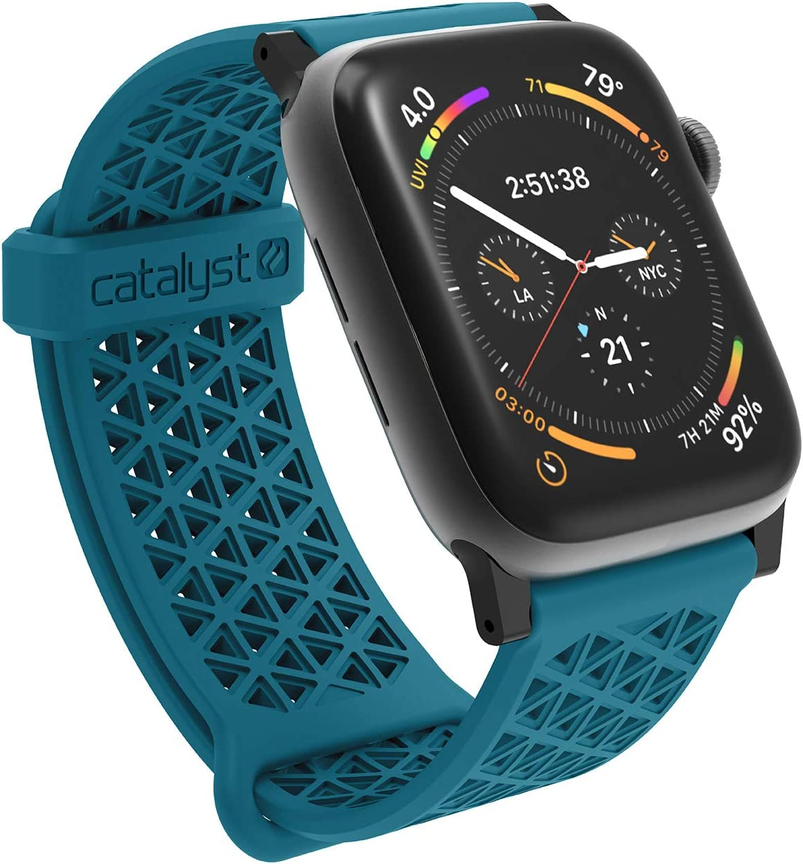 Compatible with Apple Watch Band 42mm 44mm, Hypoallergenic, Breathable Wristband, Soft Silicone Replacement Bands, Sport Band for iWatch Series 1,2,3,4,5 by Catalyst - Teal