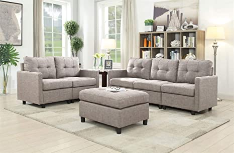6-Piece Indoor Furniture Fabric Sofa Sectional Set, 3 Seat Sofa and  Loveseat with Ottoman - Grey