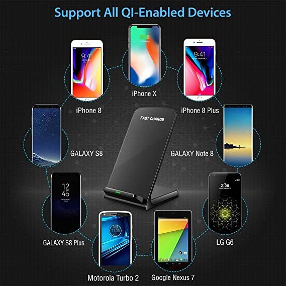 Amazon.com: Wireless Charger ADDANY 10W Fast Wireless Charger QI Wireless Charger Stand for iPhone X, iPhone 8/8 Plus, Samsung Galaxy S9/S9 Plus/Note8/S8/S8 ...