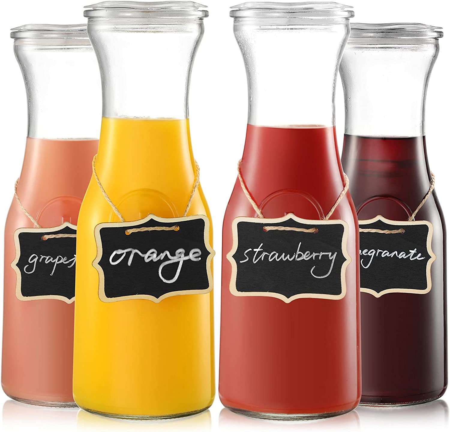 NETANY 4 Pack Glass Carafe with Lids, 1 Liter Beverage Pitcher Carafe for Mimosa Bar, Brunch, Cold Water, Wine, Iced Tea, Lemonade - 4 Wooden Chalkboard Tags Included