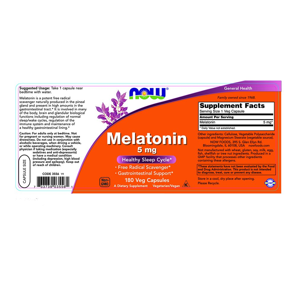 NOW Melatonin 180 Veg Capsules Image 2
