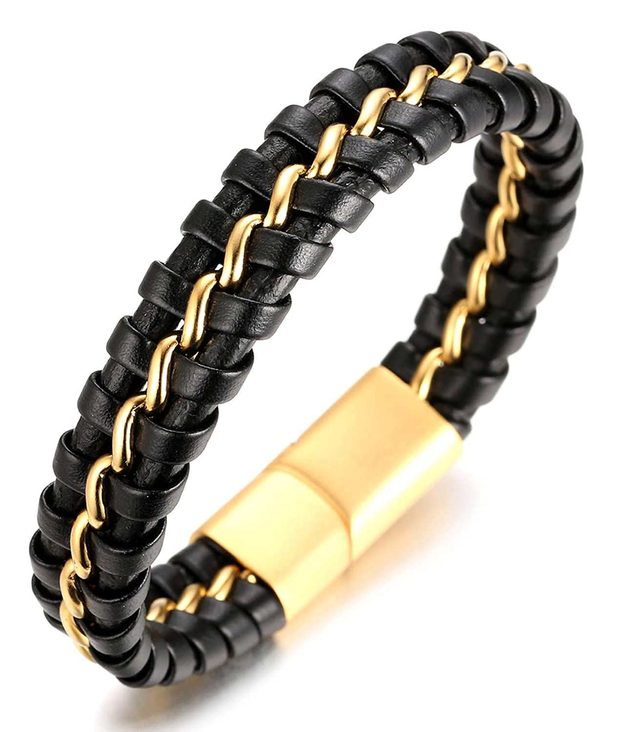 Halukakah ● Solo Matt ● Men's Genuine Leather Handmade Bracelet Titanium Chain Golden/Black/Silver with Matt Magnetic Clasp 8.5'(21.5cm) with Free Giftbox