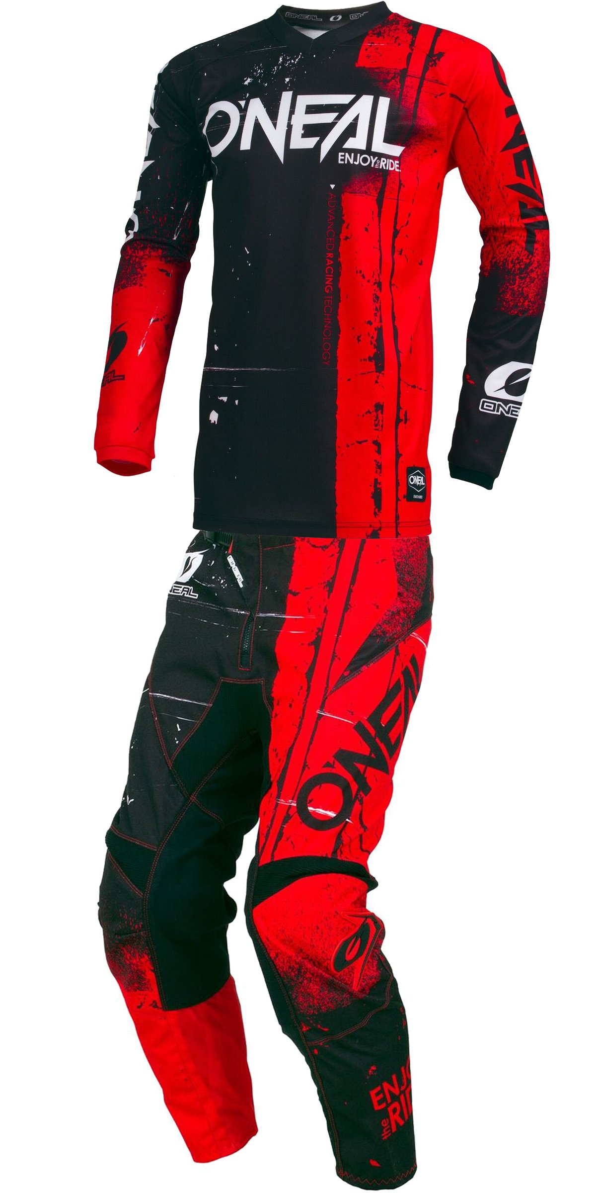 O'Neal - 2019 Element Shred (Youth RED Y-XLarge/Y-28W) MX Riding Gear Combo Set, Motocross Off-Road Dirt Bike Jersey & Pant