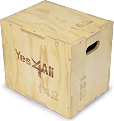 Yes4All 3 in 1 Wood Plyo Box with 4 Different Sizes (16/14/12 – 20/18/16 – 24/20/16 – 30/24/20) – Included: Packaged Screws for Easy Assembly