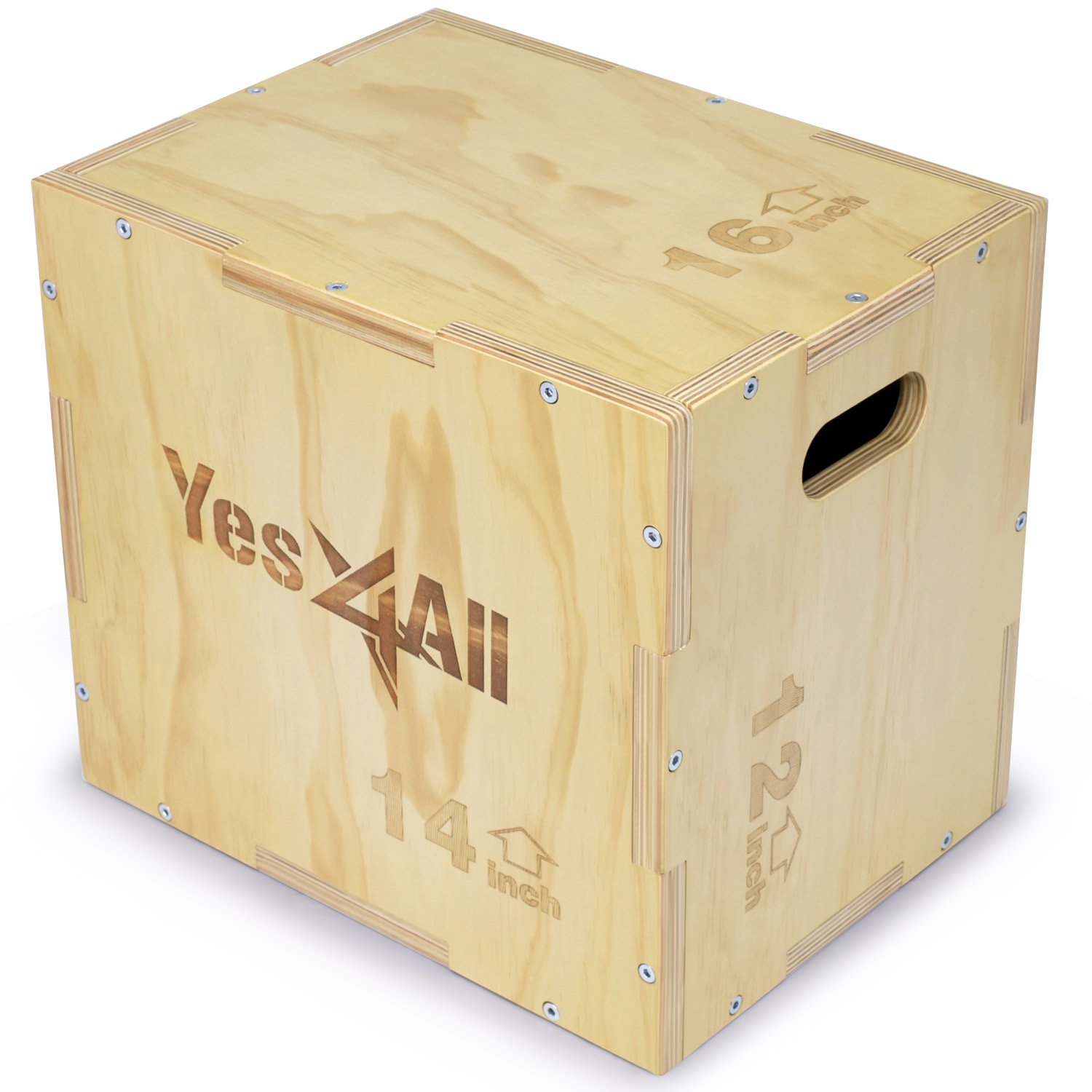 Yes4All 3 in 1 Wood Plyo Box with 4 Different Sizes 16 14 12 20 18 16 24 20 16 30 24 20 Included Packaged Screws for Easy Assembly