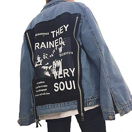 Harajuku Bomber Jacket Women Patch Designs Denim Coats Female Fashion Loose Jeans Coats Cardigans Denim Jackets