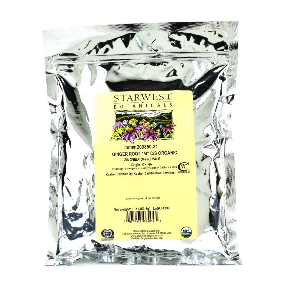 Starwest Botanicals Organic Ginger Root 1/4'' Cut and Sifted, 1 Pound (Pack of 3)
