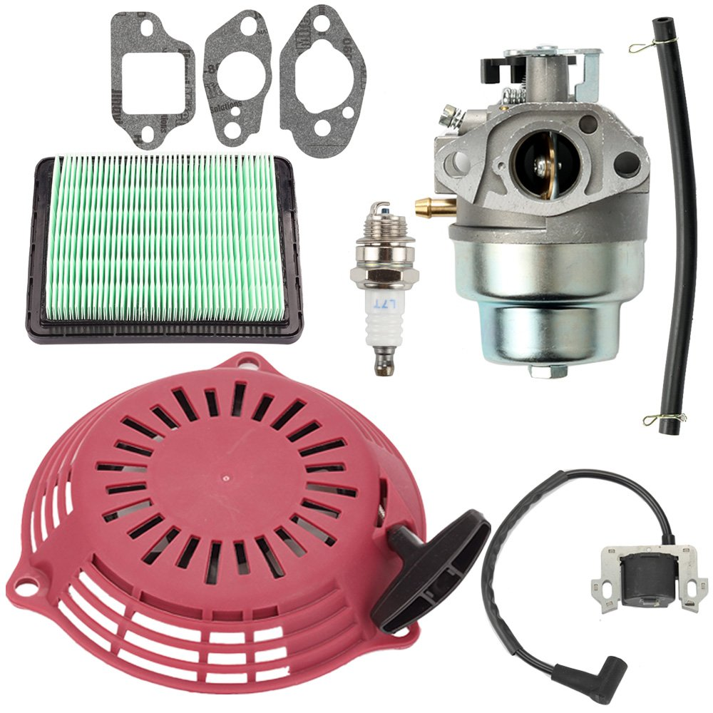 Savior GCV160 Carburetor & Air Filter Kit with Recoil Pull Starter Ignition Coil for Honda GCV160A Lawn Mowner GCV160LA GCV160LE GCV160A0 GCV160LA0