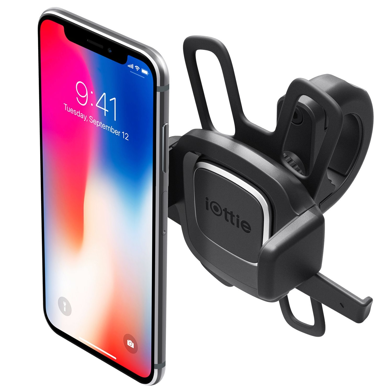 iOttie Easy One Touch 4 Bike Phone Mount & Holder, Motorcycle & Handlebar Cradle for iPhone X 8 Plus 7 6s SE Samsung Galaxy S9 S8 Edge S7 Note 8 & other Smartphone, Rubber Strap for Universal grip
