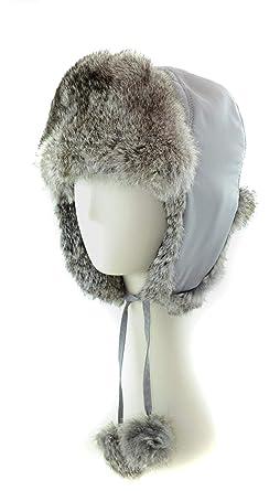53ebbd646f463 surell Genuine GreyTrapper Rabbit Fur Aviator Hat with Poms - Warm ...