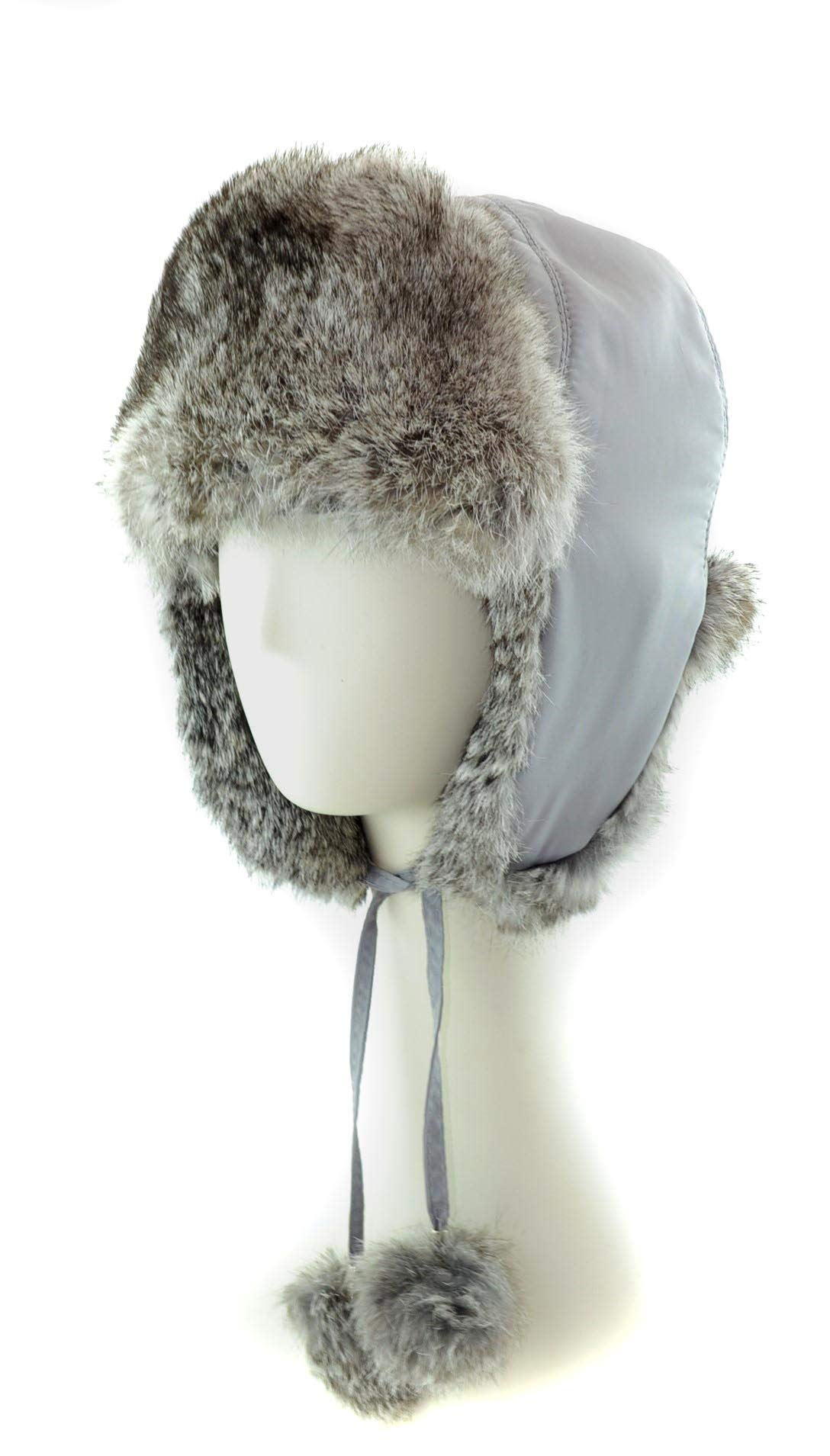 surell Genuine GreyTrapper Rabbit Fur Aviator Hat with Poms - Warm Bomber Trooper Hat - Perfect Winter Luxury Gift