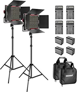 Neewer 2 Packs 660 LED Video Light Dimmable Bi-Color with Barndoor and Light Stand, 4-Pack 6600mAh Li-ion Battery and Charger Photography Lighting Kit for Photo Studio YouTube Video Shooting (Red)