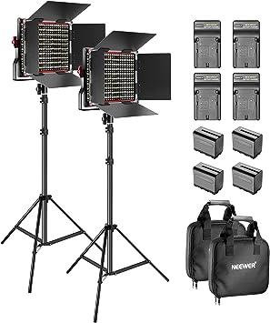 Neewer 2-Pack 660 LED Video Luz Regulable Bi-Color con Parasol y 1,83cm Soporte de Luz,4-Pack 6600mAh Battería Li-Ion Recargable y Cargador para Fotografía Estudio Youtube Video(Rojo): Amazon.es: Electrónica