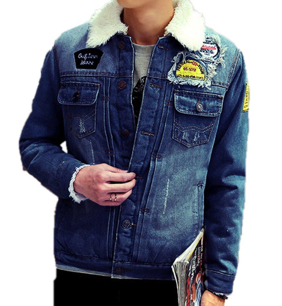 AvaCostume Men's Winter Fleece Lined Patch Denim Jacket Coats, Dark Blue Medium by AvaCostume