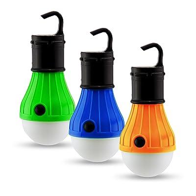 Pack de 3 éclairages légers pour tentes & Camping | Ampoules LED Lanternes lumières pour plein air | Eclairages de camping fonctionnant avec batterie | Set d'éclairages extérieurs