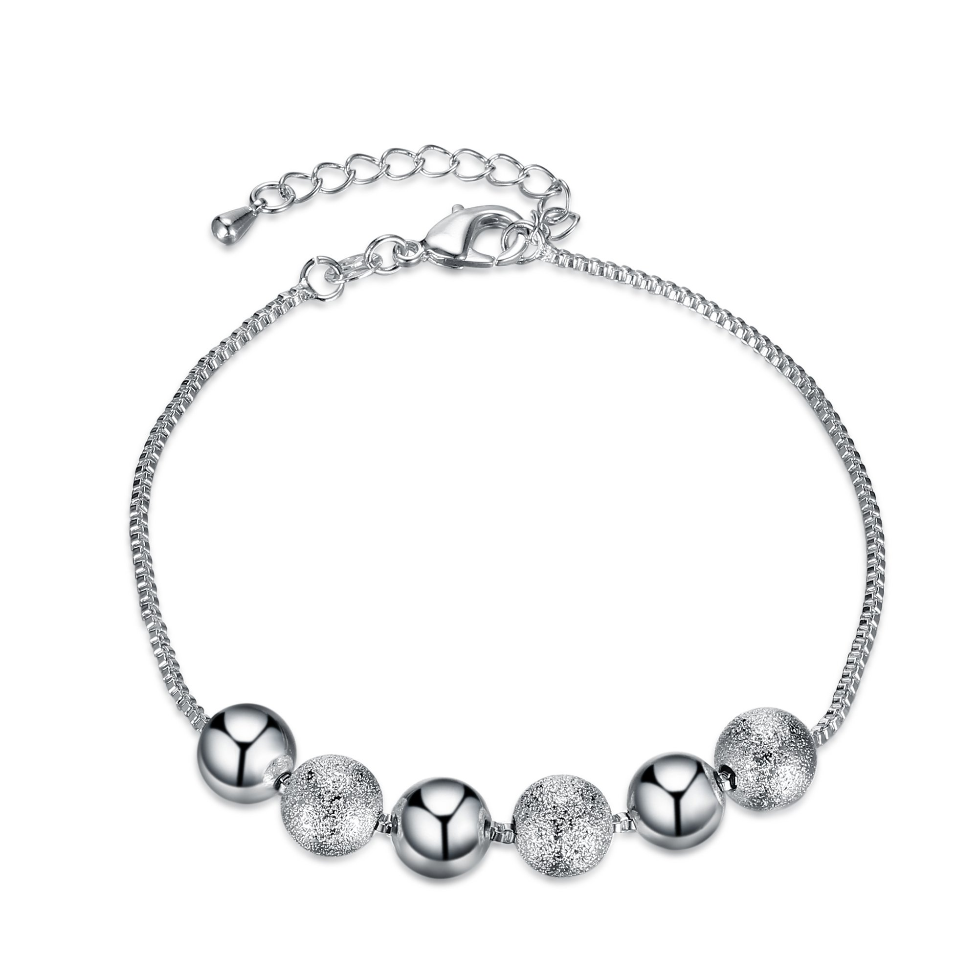 Sterling Silver Plated Ball Oval Cable Chain Charm Bracelet Mother Gift (C)