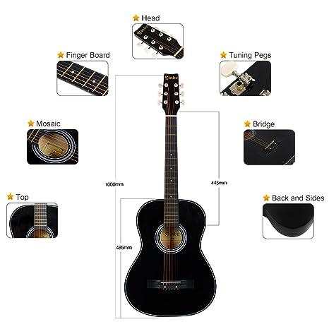 Guitarra Acústica Tamaño Cadete 3/4, para iniciar a niños y jóvenes principiantes, manos pequeñas, 6 cuerdas, con Cuerdas de Recambio, Comentarios 100% ...